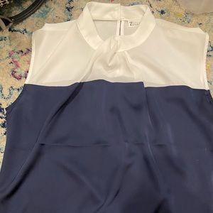 Navy blue and white sleeveless shirt